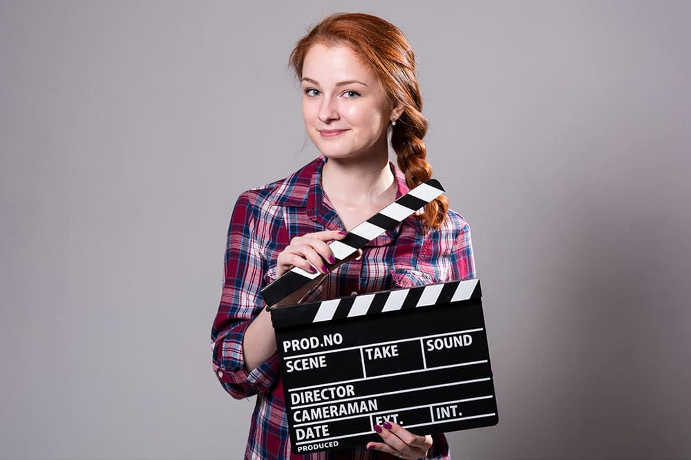 Woman doing a film at Virtually Talented Online Team Event